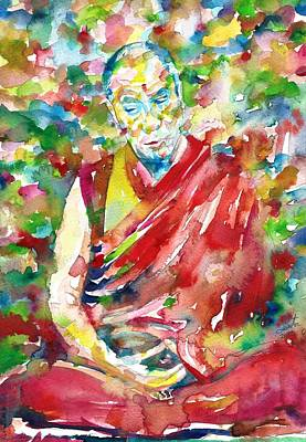 Painting - 14th Dalai Lama - Tenzin Gyatso - Watercolor Portrait.3 by Fabrizio Cassetta