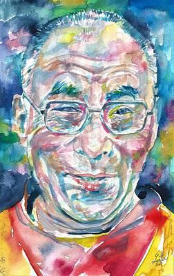 Tibetan Buddhism Painting - 14th Dalai Lama - Tenzin Gyatso - Watercolor Portrait.4 by Fabrizio Cassetta