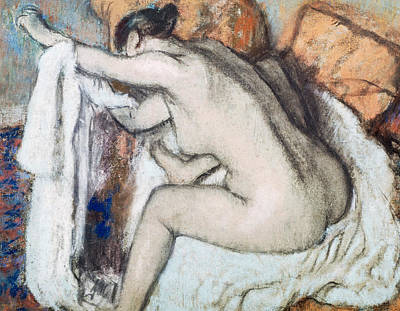 Rubbing Drawing - After The Bath by Edgar Degas