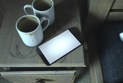 Bedside Table And Cellphone Art Print