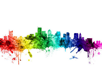 Rainbows Digital Art - Boston Massachusetts Skyline by Michael Tompsett