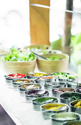 Photograph - Bowls Of Mixed Fresh Organic Vegetables In Salad Bar Display by Jacek Malipan