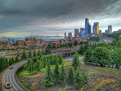 Photograph - Cloudy And Rainy Day In Seattle Washington by Alex Grichenko