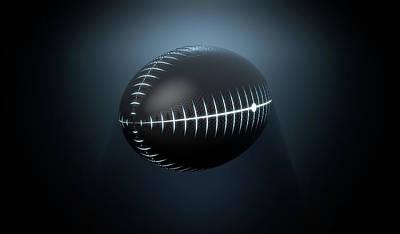 Rugby Union Digital Art - Futuristic Neon Sports Ball by Allan Swart