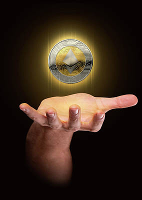 Hologram Digital Art - Hand With Cryptocurrency Hologram by Allan Swart