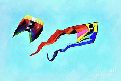Painting - Kites Flying During Kite Festival by George Atsametakis