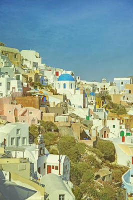 Colorful Houses Photograph - Oia - Santorini by Joana Kruse