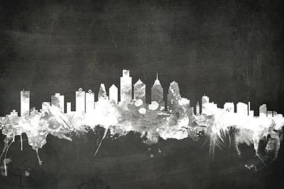 Blackboard Digital Art - Philadelphia Pennsylvania Skyline by Michael Tompsett