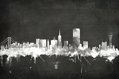 Blackboards Digital Art - San Francisco City Skyline by Michael Tompsett