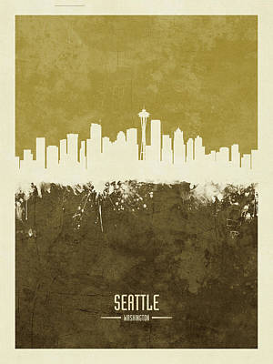 Digital Art - Seattle Washington Skyline by Michael Tompsett