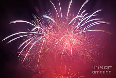 Festival Photograph - Spectacular Fireworks Show Light Up The Sky. New Year Celebration. by Michal Bednarek
