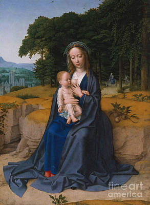 Breastfeeding Painting - The Rest On The Flight Into Egypt by Gerard David
