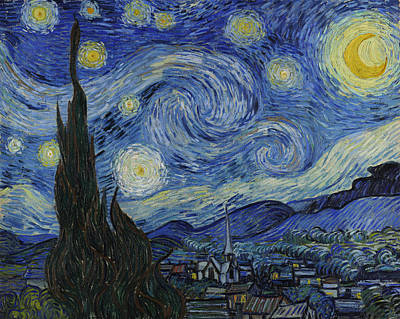 Moonlit Painting - The Starry Night by Vincent van Gogh