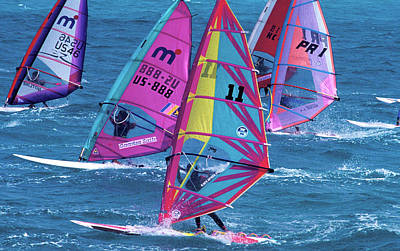 Popstar And Musician Paintings Royalty Free Images - Windsurfing in Nassau Royalty-Free Image by Carl Purcell