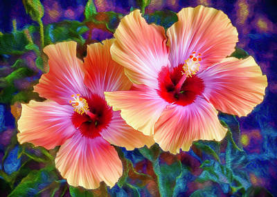 Digital Art - Hibiscus Duo by Bill Johnson
