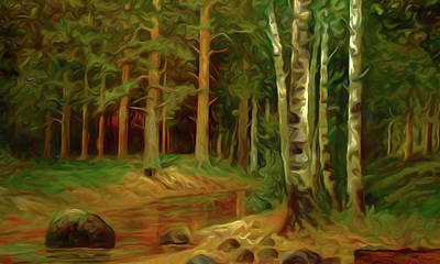 Valley Painting - Nature Landscape Lighting by Edna Wallen