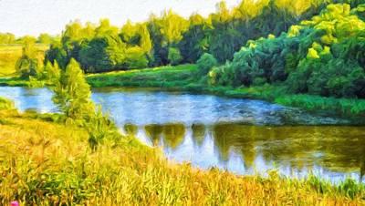 Yellow Painting - Nature Art Landscape by Margaret J Rocha