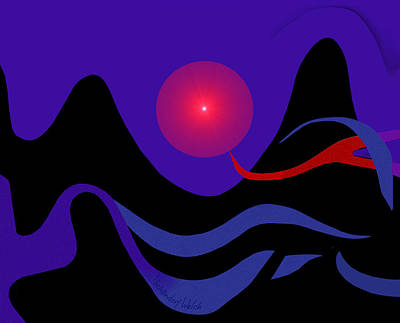 Digital Art - 1536 - Red Mountain Sun -  2017 by Irmgard Schoendorf Welch