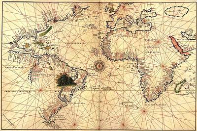 Nautical Chart Photograph - 1544 Nautical Map Of The Atlantic by Everett