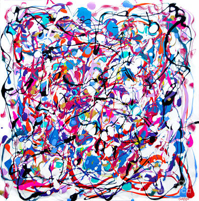 Painting - #1544 Streamers And Confetti by Expressionistart studio Priscilla Batzell