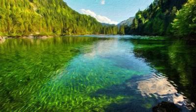 Water Painting - Landscape Art Nature by Margaret J Rocha