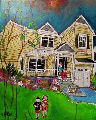 Painting - 156 Queen Avenue Pointe-claire Family House by Michael Litvack