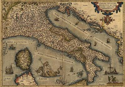 1570 Map Of Italy  From Abraham Print by Everett