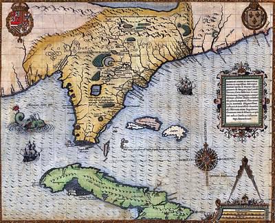 1591, Exploration Era Map Of Florida Art Print by Everett
