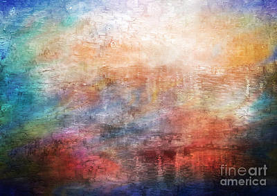 Painting - 15b Abstract Sunrise Digital Landscape Painting by Ricardos Creations