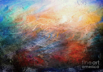 Painting - 15d Abstract Seascape Sunrise Painting Digital by Ricardos Creations