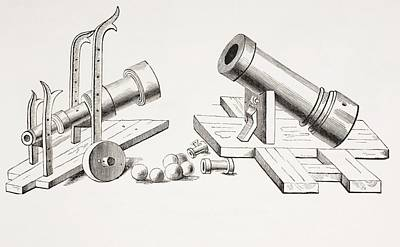 15th Century Cannons, With Fixed Gun Art Print by Vintage Design Pics
