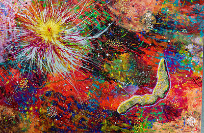 Painting - 16-9 Red Star Burst by Patrick OLeary