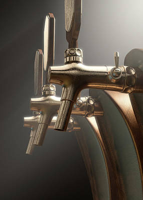 Isolated Digital Art - Beer Tap by Allan Swart