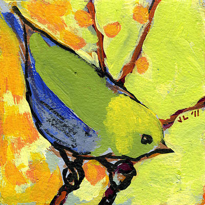 Green Painting - 16 Birds No 2 by Jennifer Lommers