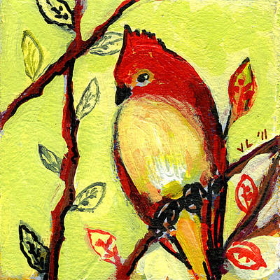 Cardinal Painting - 16 Birds No 3 by Jennifer Lommers