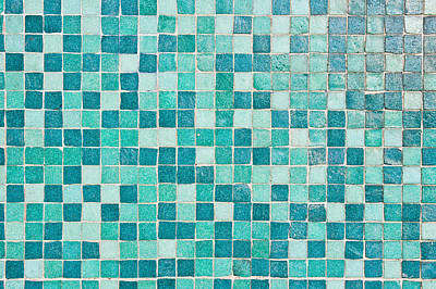 Mosaic Photograph - Blue Tiles by Tom Gowanlock