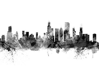 University Of Illinois Digital Art - Chicago Illinois Skyline by Michael Tompsett