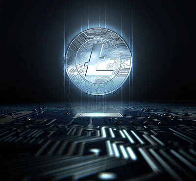 Pool Digital Art - Cryptocurrency And Circuit Board by Allan Swart