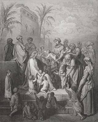 Jesus Christ Drawing - Engraving From The Dore Bible by Vintage Design Pics