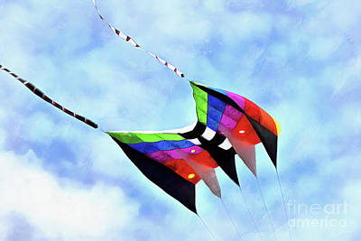 Painting - Kite Flying During Kite Festival by George Atsametakis