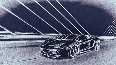 Digital Art - Lamborghini Aventador by PixBreak Art