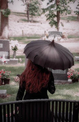 Photograph - Woman With Long Red Hair In A Cemetery With A Black Umbrella by Eleanor Caputo