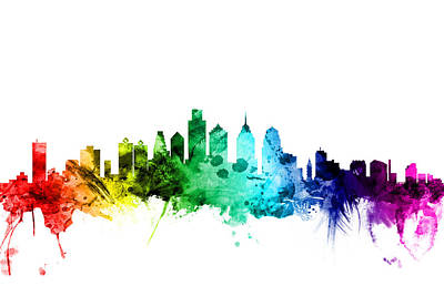 Philadelphia Wall Art - Digital Art - Philadelphia Pennsylvania Skyline by Michael Tompsett