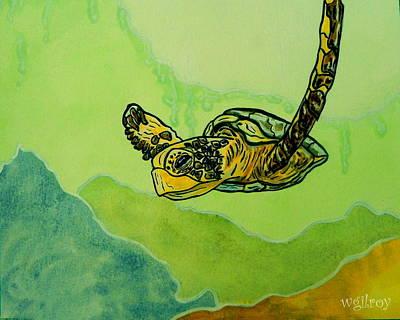 Caribbean Sea Mixed Media - Sea Turtle by W Gilroy