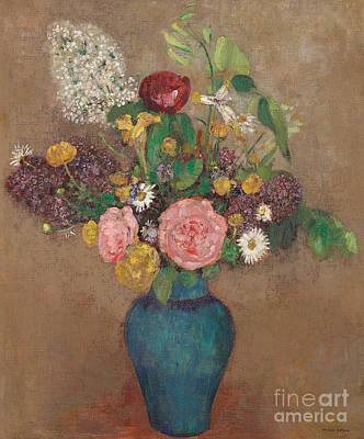 Ceramics Painting - Vase Of Flowers by Odilon Redon