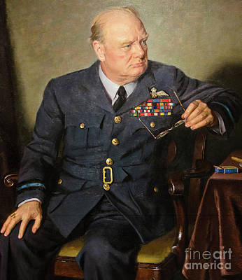 Painting - Winston Churchill  by Granger