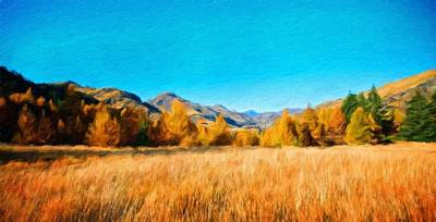 Grass Painting - Landscape Nature by Margaret J Rocha
