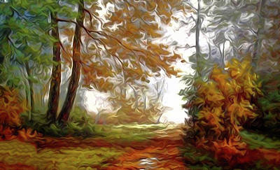 River Painting - Nature Landscape Lighting by Edna Wallen