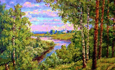 Oil Painting - Nature Landscape Graphics by Edna Wallen