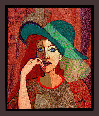Digital Art - 1637 Lady With Green Hat And Scarf by Irmgard Schoendorf Welch